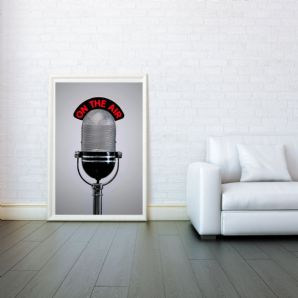Microphone On The Air, Digital Illustration Giclee Art Print Mixed Media, Prints & Posters, Wall Art Print, Poster Any Size